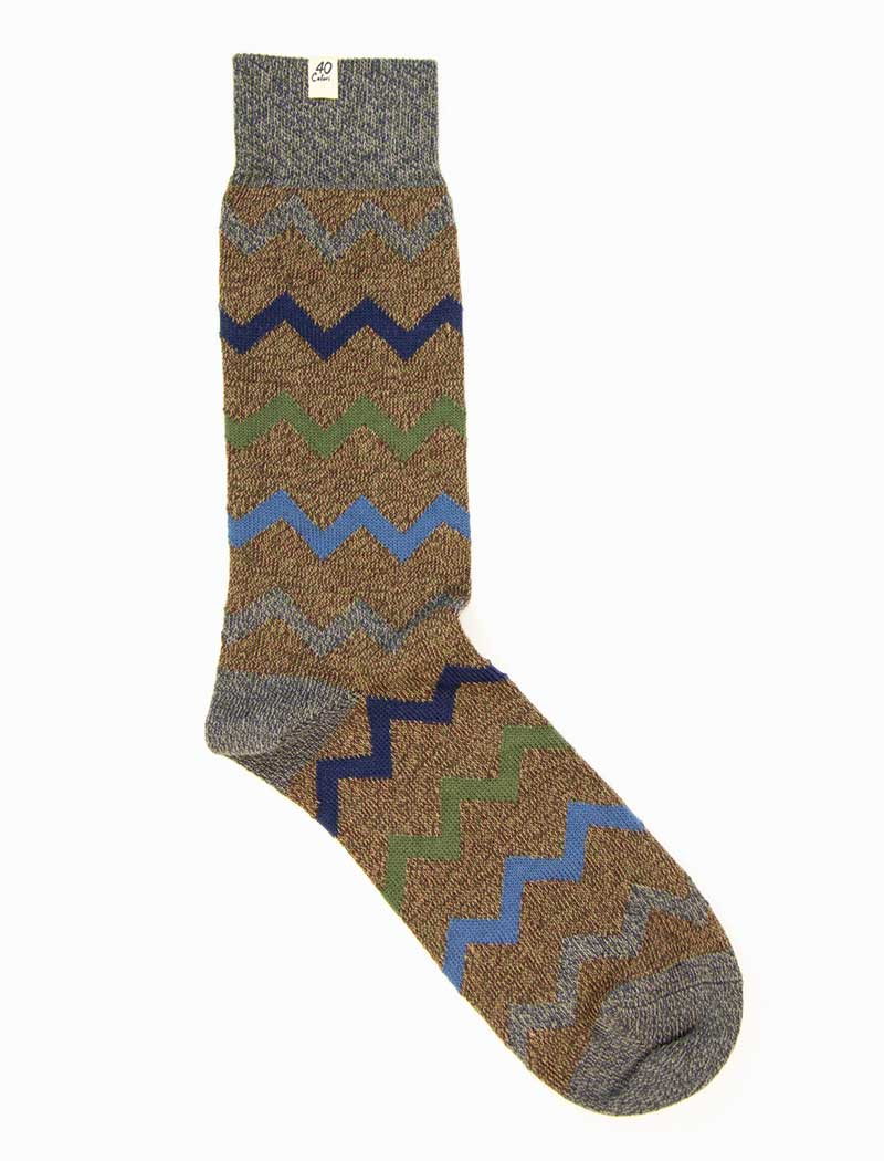 Brown Zigzag Thick Organic Cotton Socks | 40 Colori