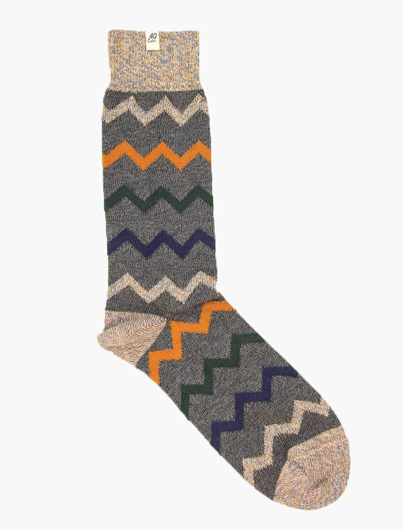 Grey Zigzag Thick Organic Cotton Socks | 40 Colori