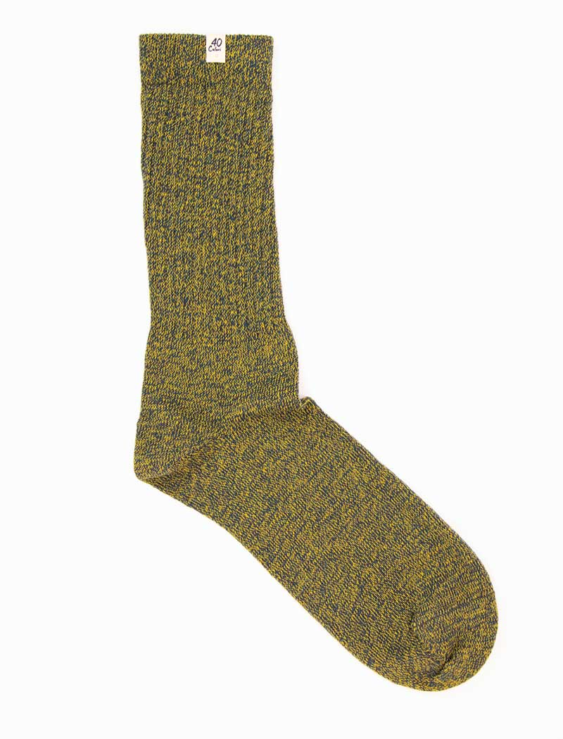 Olive Green Thick Melange Organic Cotton Socks | 40 Colori