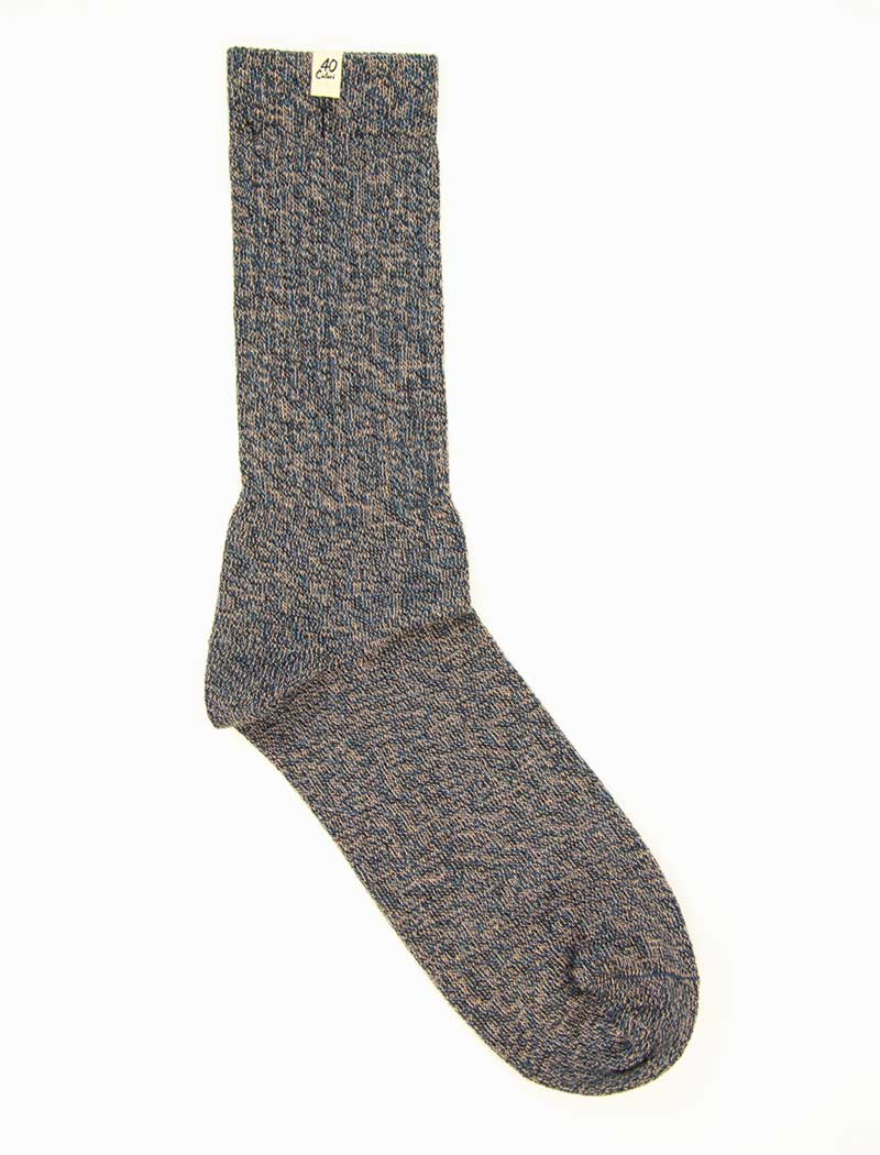 Jeans Blue Thick Melange Organic Cotton Socks | 40 Colori