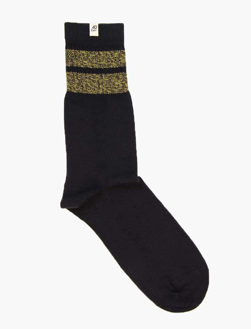 Charcoal & Yellow Double Striped Thick Organic Cotton Socks | 40 Colori