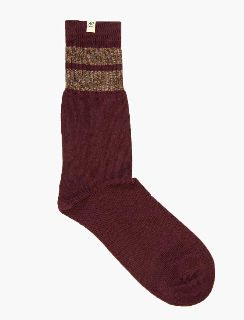 Burgundy & Brown Double Striped Thick Organic Cotton Socks | 40 Colori