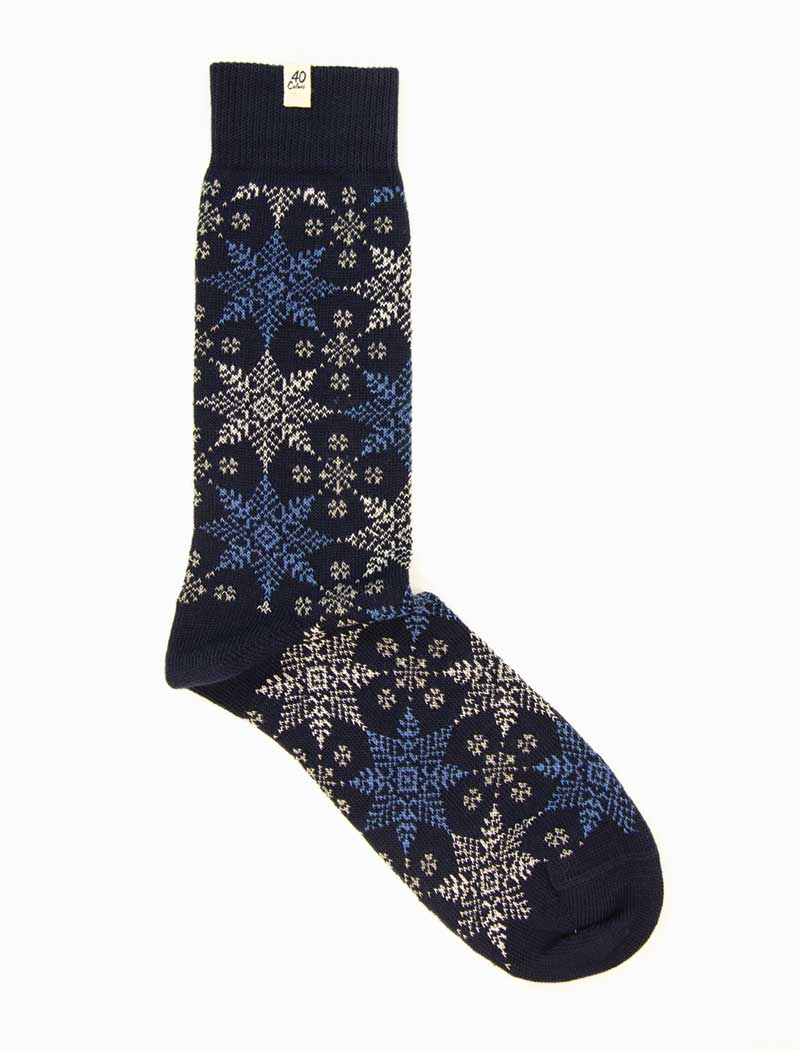 Navy Snowflakes Thick Organic Cotton Socks | 40 Colori