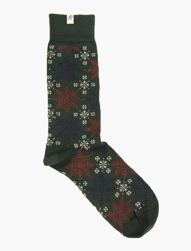 Dark Green Snowflakes Thick Organic Cotton Socks | 40 Colori