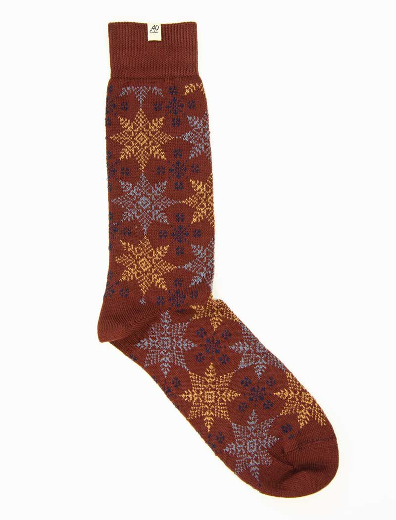Burgundy Snowflakes Thick Organic Cotton Socks | 40 Colori