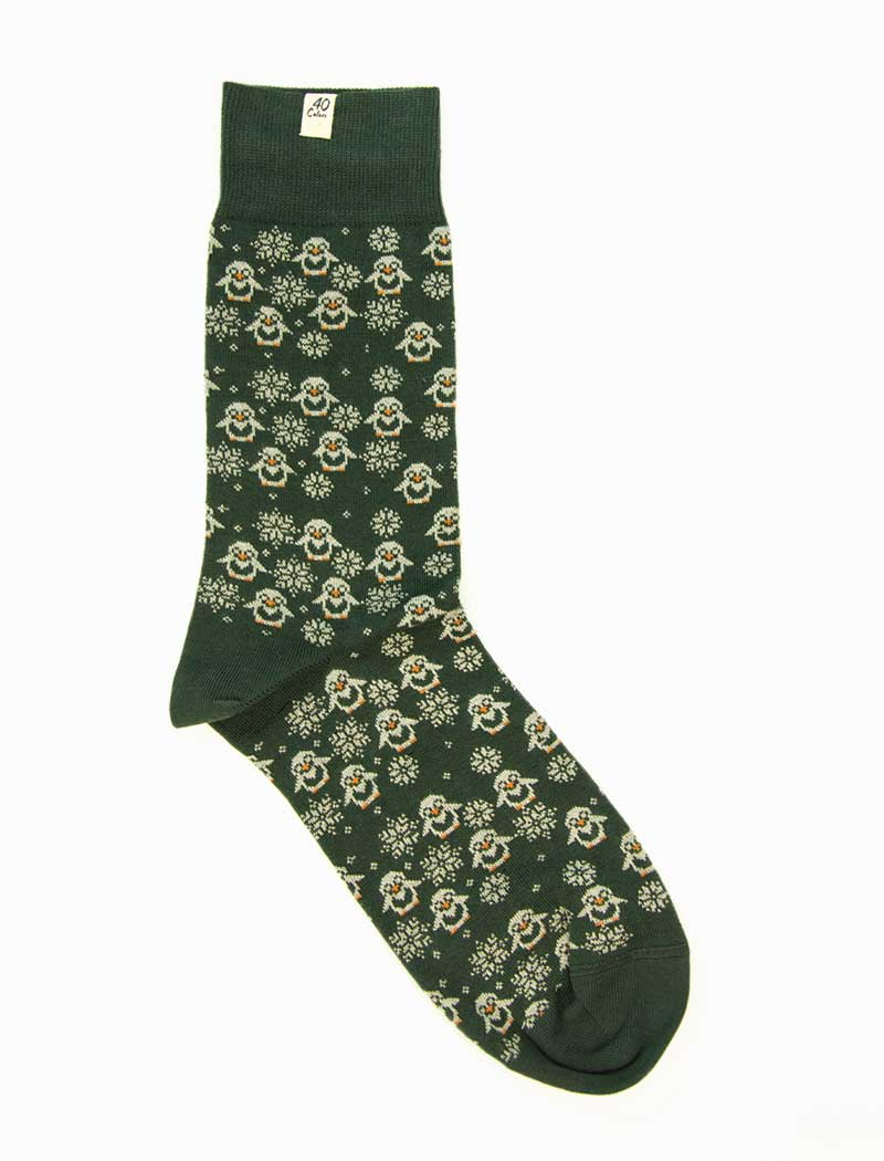 Dark Green Penguins Organic Cotton Socks | 40 Colori
