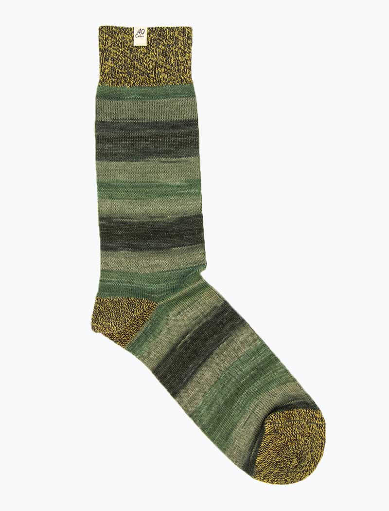 Green Degrade Thick Organic Cotton Socks | 40 Colori