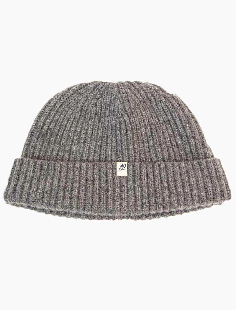 Grey Thick Ribbed Solid 100% Cashmere Fisherman Beanie | 40 Colori