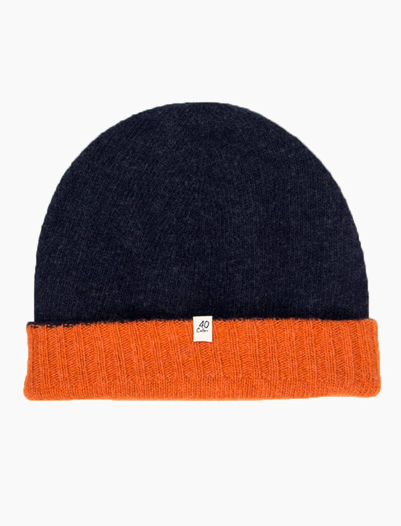 Navy & Orange Reversible Fitted Wool & Cashmere Beanie