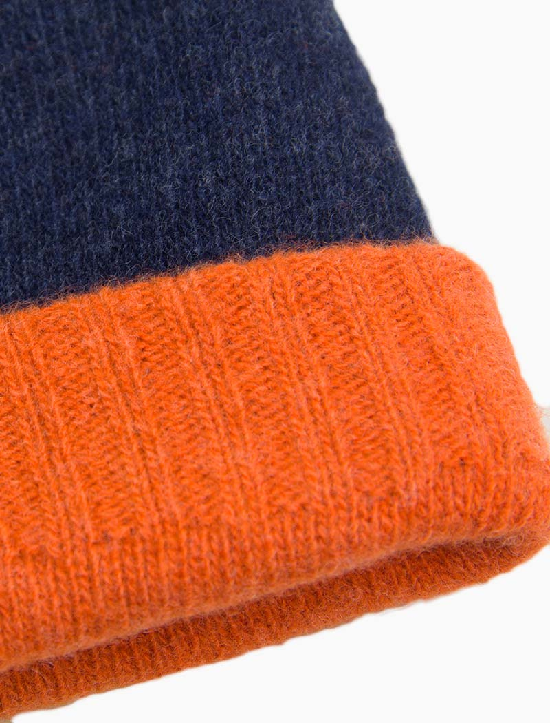 Navy & Orange Reversible Fitted Wool & Cashmere Beanie | 40 Colori