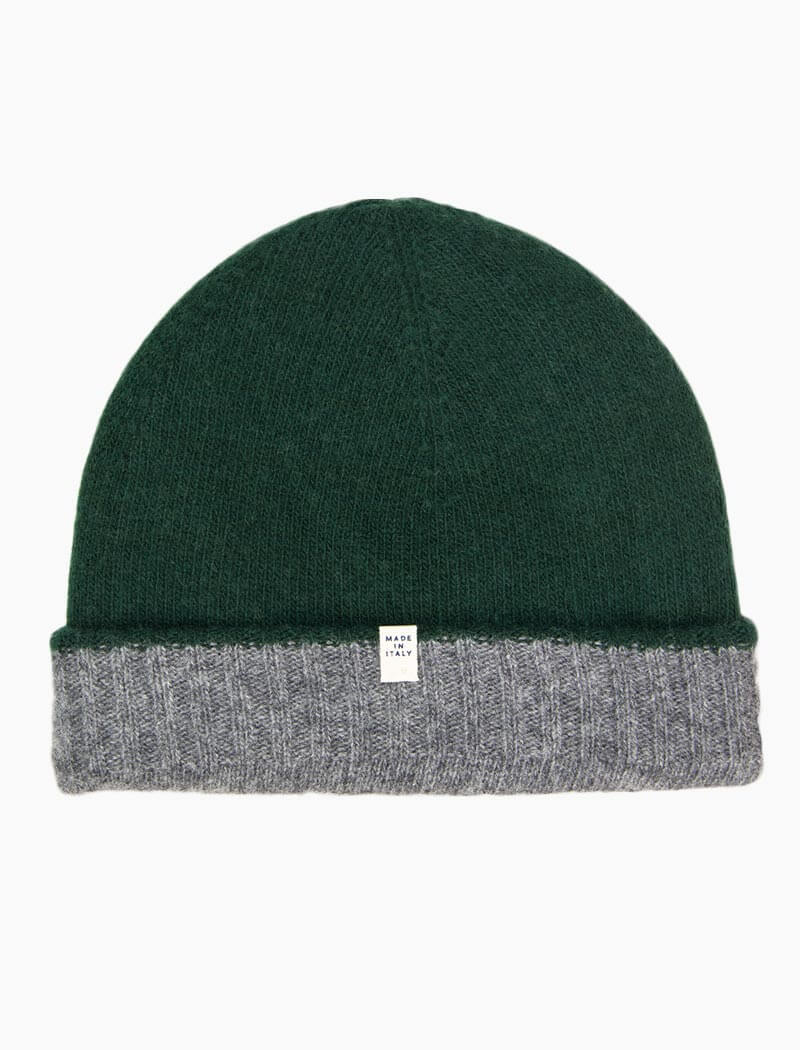 Grey & Green Reversible Fitted Wool & Cashmere Beanie | 40 Colori