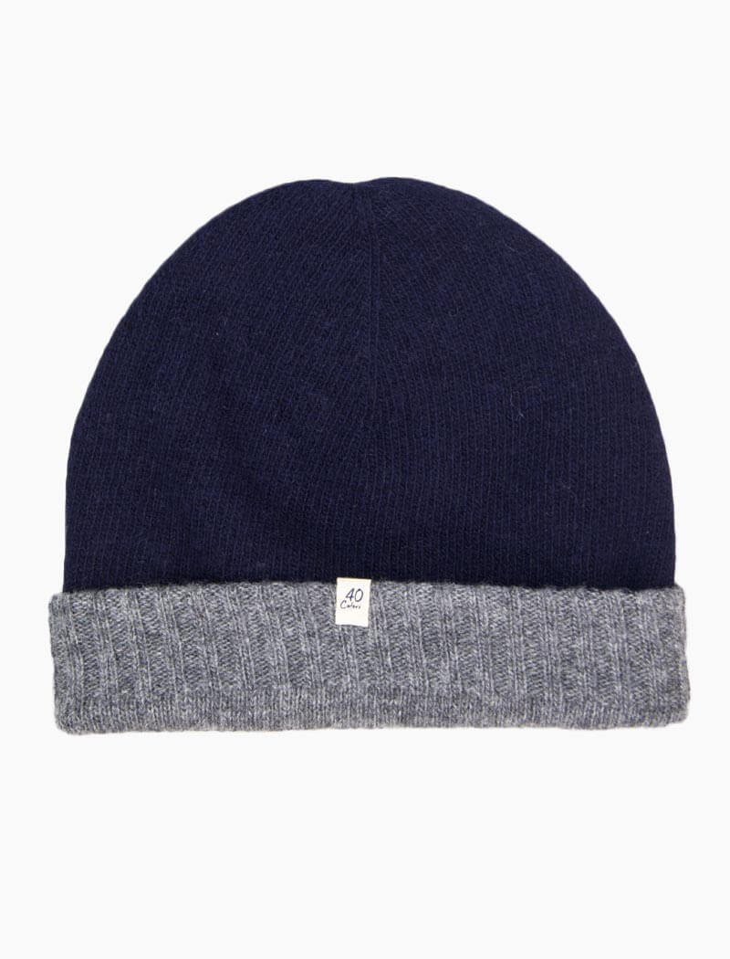 Navy & Grey Reversible Fitted Wool & Cashmere Beanie | 40 Colori