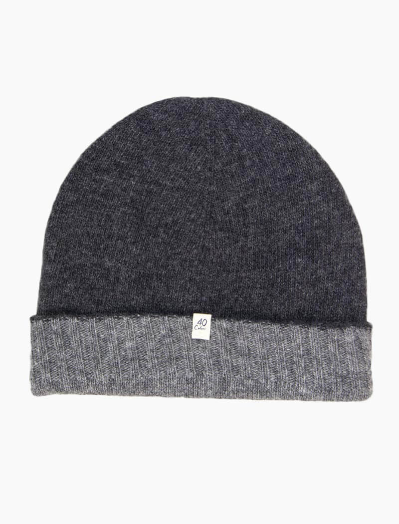 Charcoal & Grey Reversible Fitted Wool & Cashmere Beanie | 40 Colori