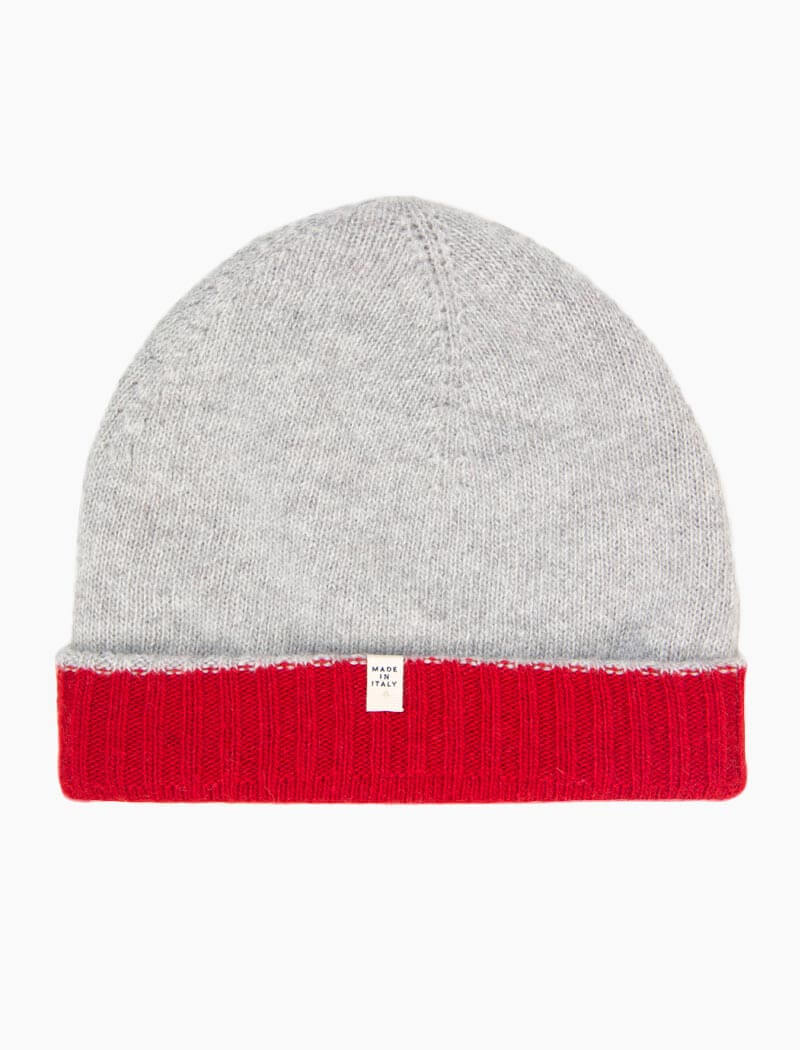 Red & Light Grey Reversible Fitted Wool & Cashmere Beanie | 40 Colori