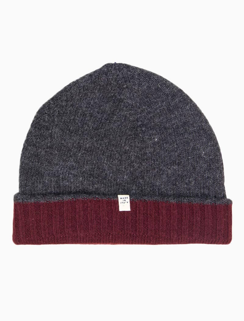Burgundy & Grey Reversible Fitted Wool & Cashmere Beanie | 40 Colori