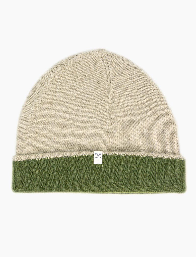 Green & Beige Reversible Fitted Wool & Cashmere Beanie | 40 Colori