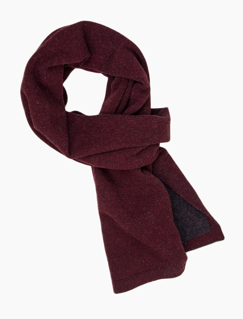 Burgundy & Grey Solid Reversible Knitted Wool & Cashmere Scarf | 40 Colori
