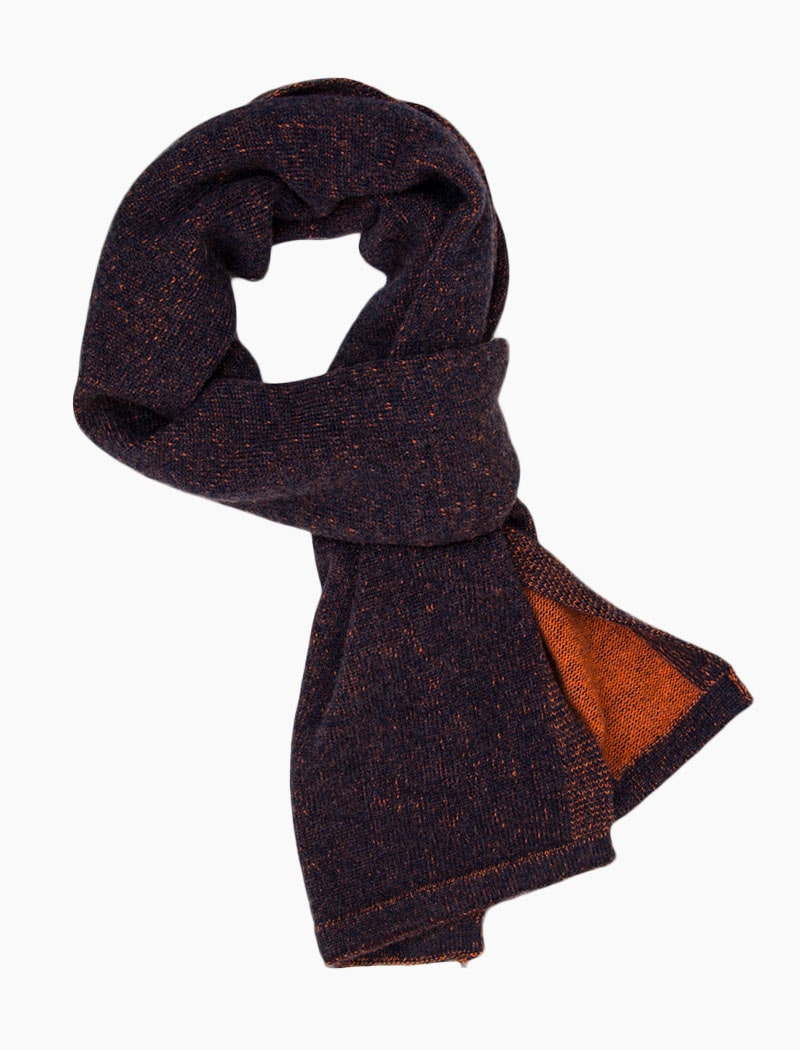 Navy & Orange Solid Reversible Knitted Wool & Cashmere Scarf | 40 Colori