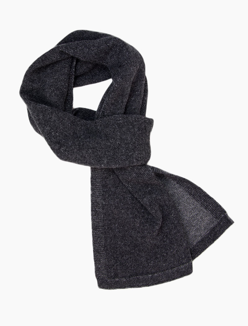 Charcoal & Grey Solid Reversible Knitted Wool & Cashmere Scarf