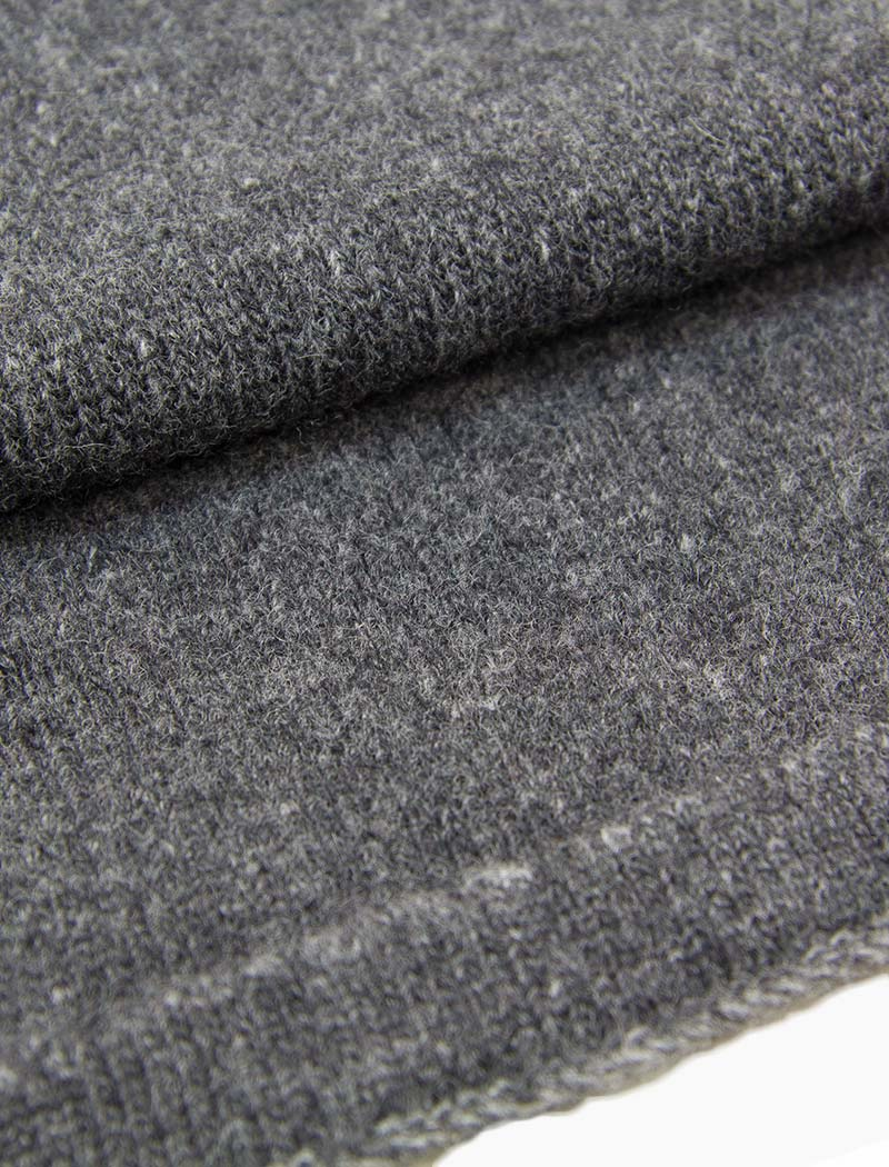 Charcoal & Grey Solid Reversible Knitted Wool & Cashmere Scarf - 40 Colori