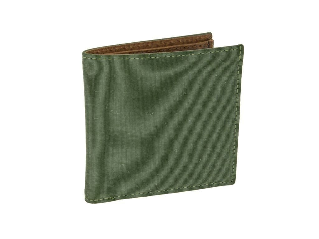 SOLID WASHED MOGADOR AND LEATHER WALLET