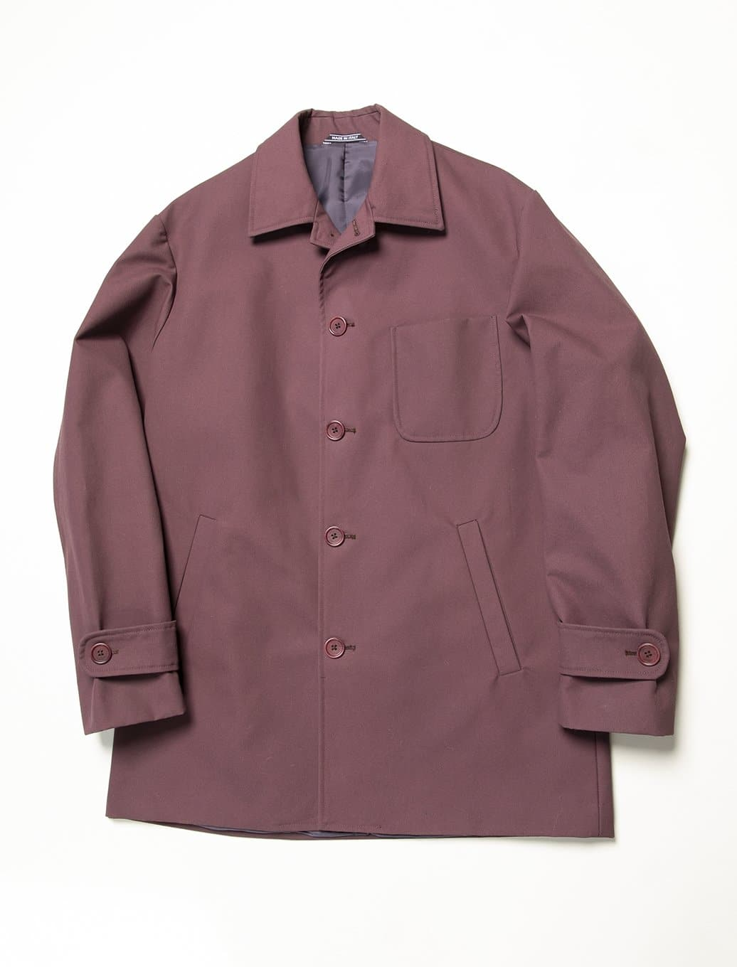 Wine Waxed Cotton Overcoat | 40 Colori