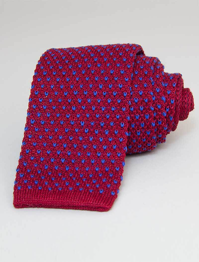 Magenta Small Dotted Linen Knitted Tie | 40 Colori