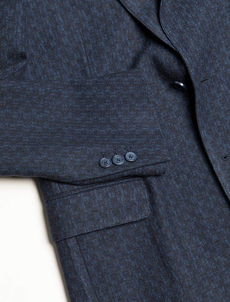Blue & Black Dashed Wool Blazer
