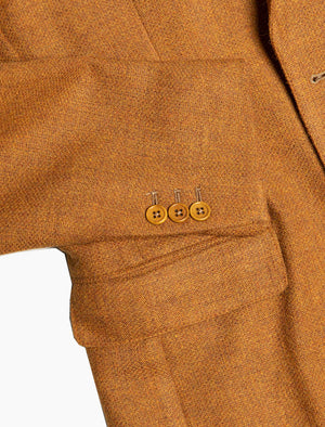 Ocher Yellow Basket Weave Wool Blazer