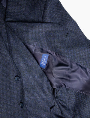 Blue Small Grid Check Wool Blazer