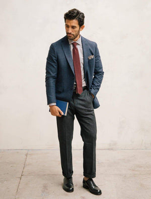 Blue Small Grid Check Wool Blazer | 40 Colori
