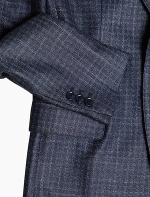 Dark Blue Grid Wool Blazer | 40 Colori