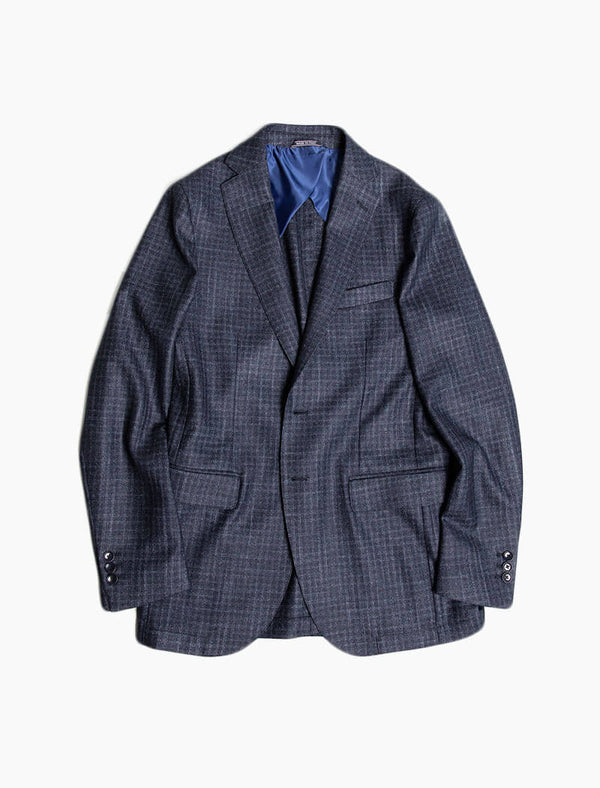 Dark Blue Grid Wool Blazer