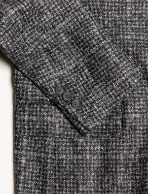 Grey Houndstooth Wool Blazer