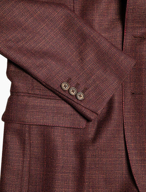 Burgundy Crosshatch Wool Blazer