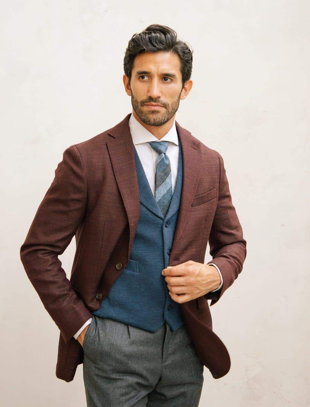 Burgundy Crosshatch Wool Blazer | 40 Colori