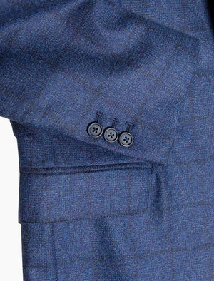 Royal Blue Large Check Wool Blazer