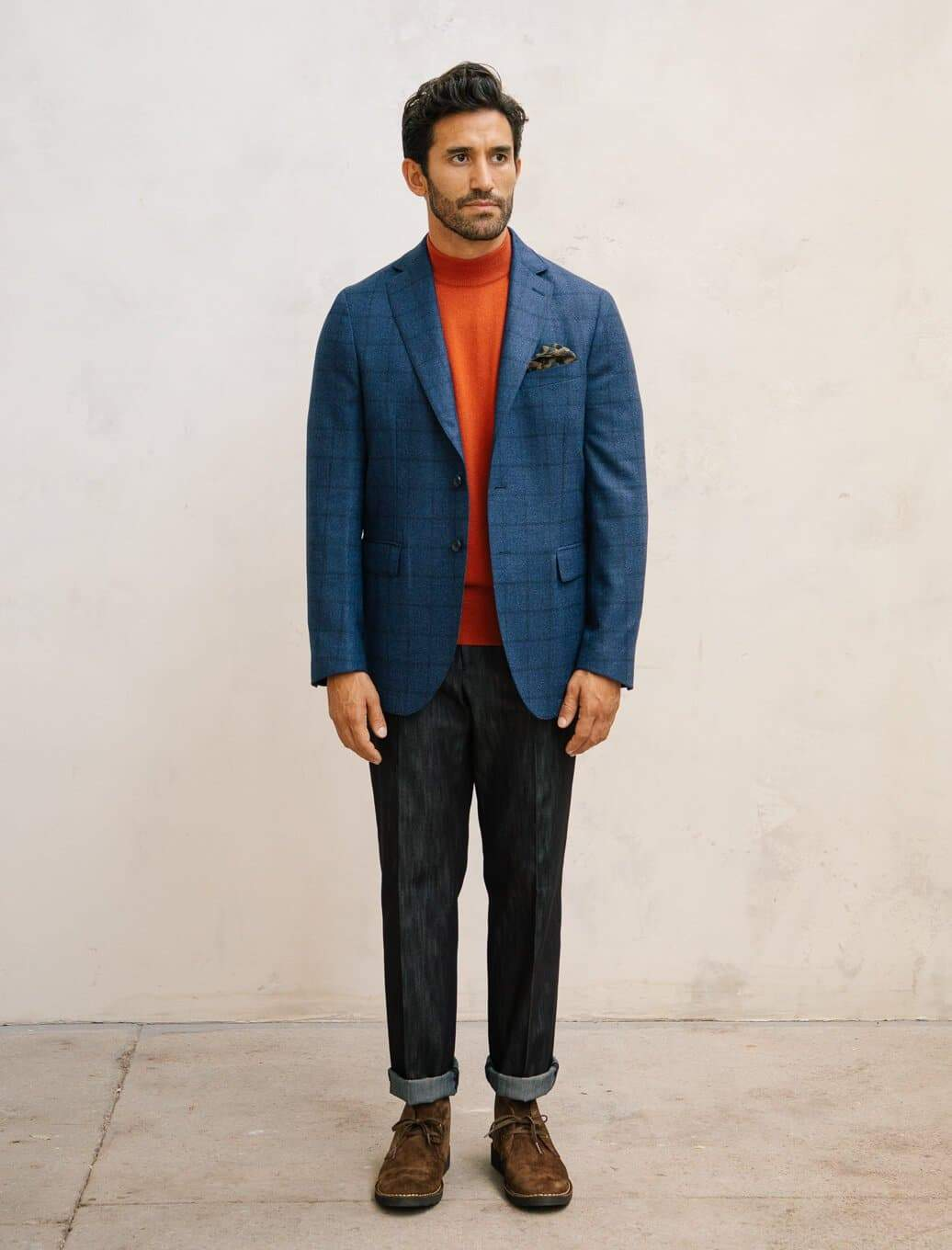 Royal Blue Large Check Wool Blazer | 40 Colori