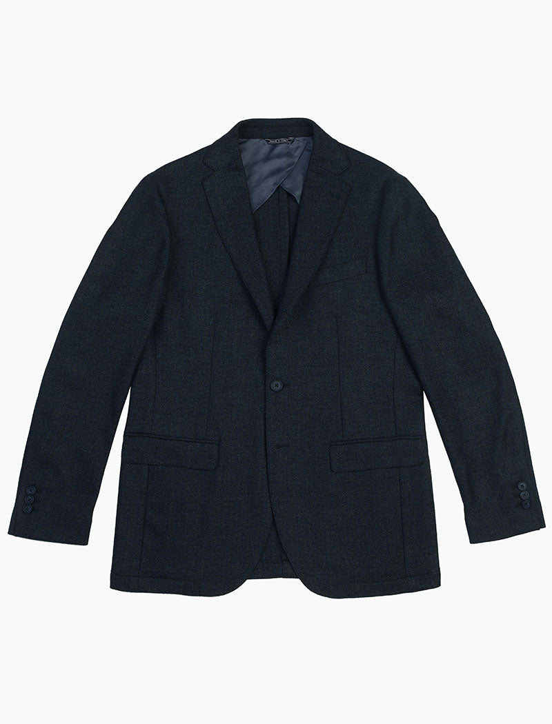 Blue & Green Herringbone Wool Blazer | 40 Colori