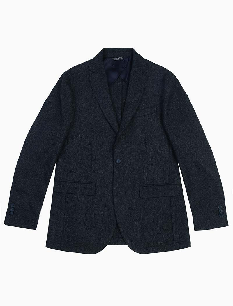 Dark Blue Herringbone Wool Blazer | 40 Colori