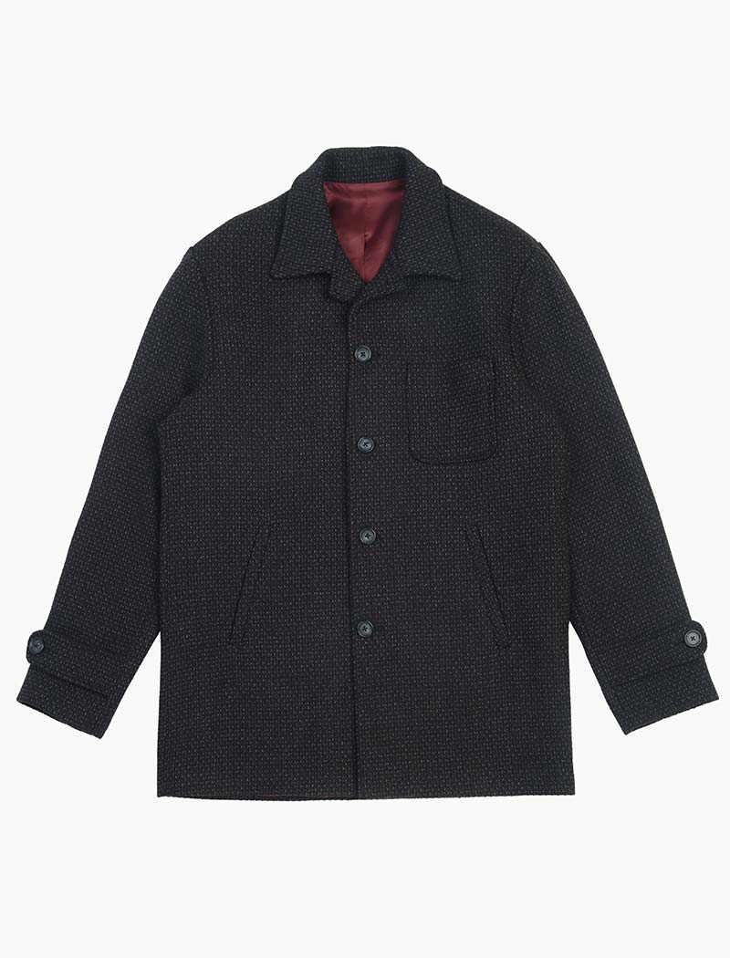 Black Melange Wool Overcoat | 40 Colori