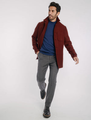 Burgundy Ribbed Cashmere Overcoat