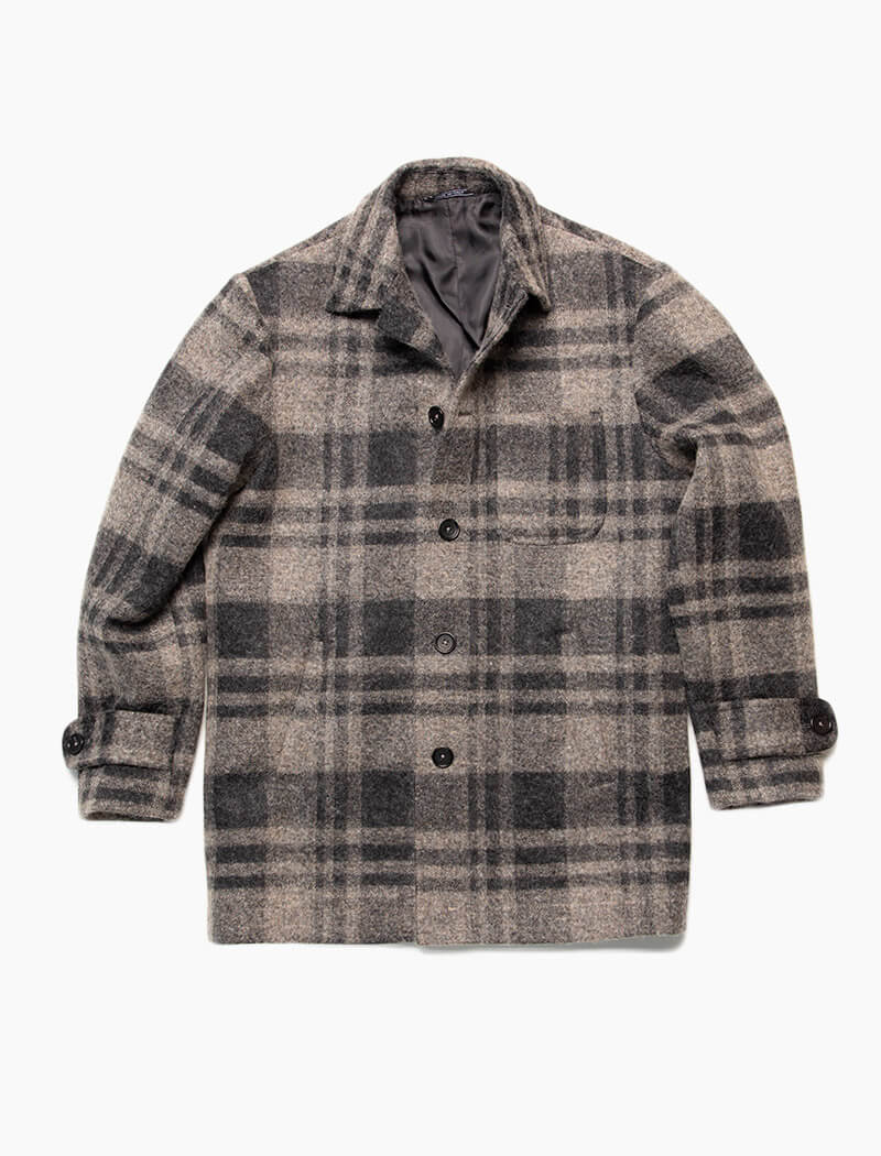 Grey Check Wool & Alpaca Overcoat | 40 Colori