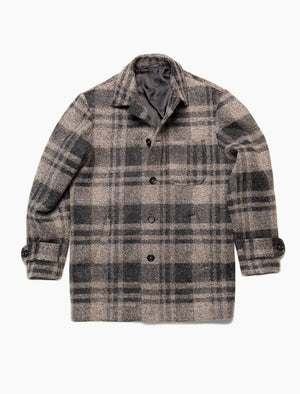 Grey Check Wool & Alpaca Overcoat