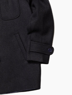 Dark Navy Herringbone Wool Overcoat