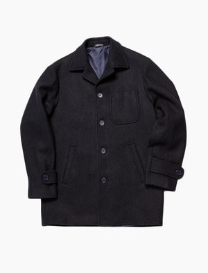 Dark Navy Herringbone Wool Overcoat | 40 Colori