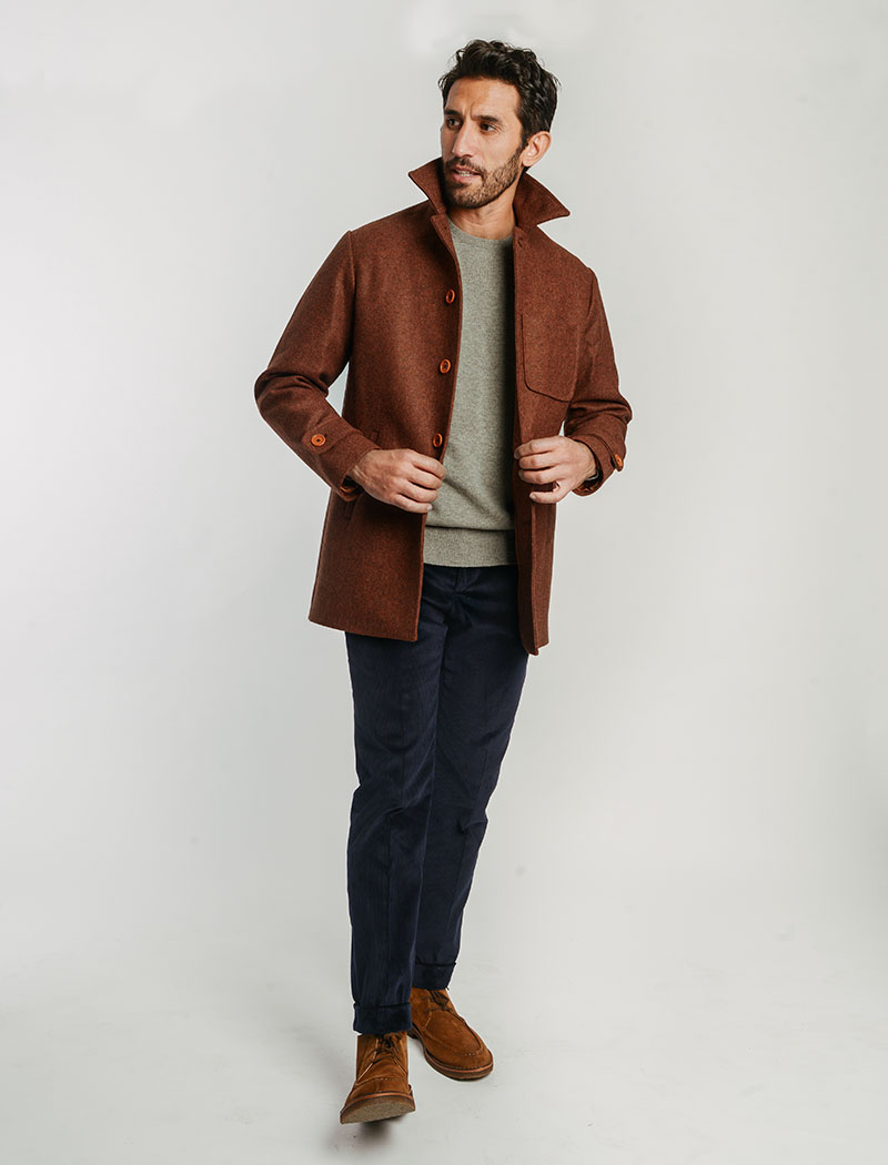 Brick Herringbone Wool Overcoat | 40 Colori