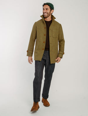 Mustard Herringbone Wool Overcoat