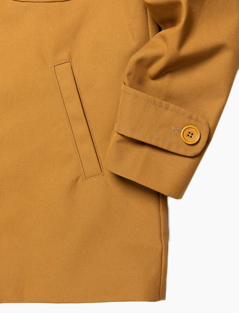 Mustard Waxed Cotton Overcoat