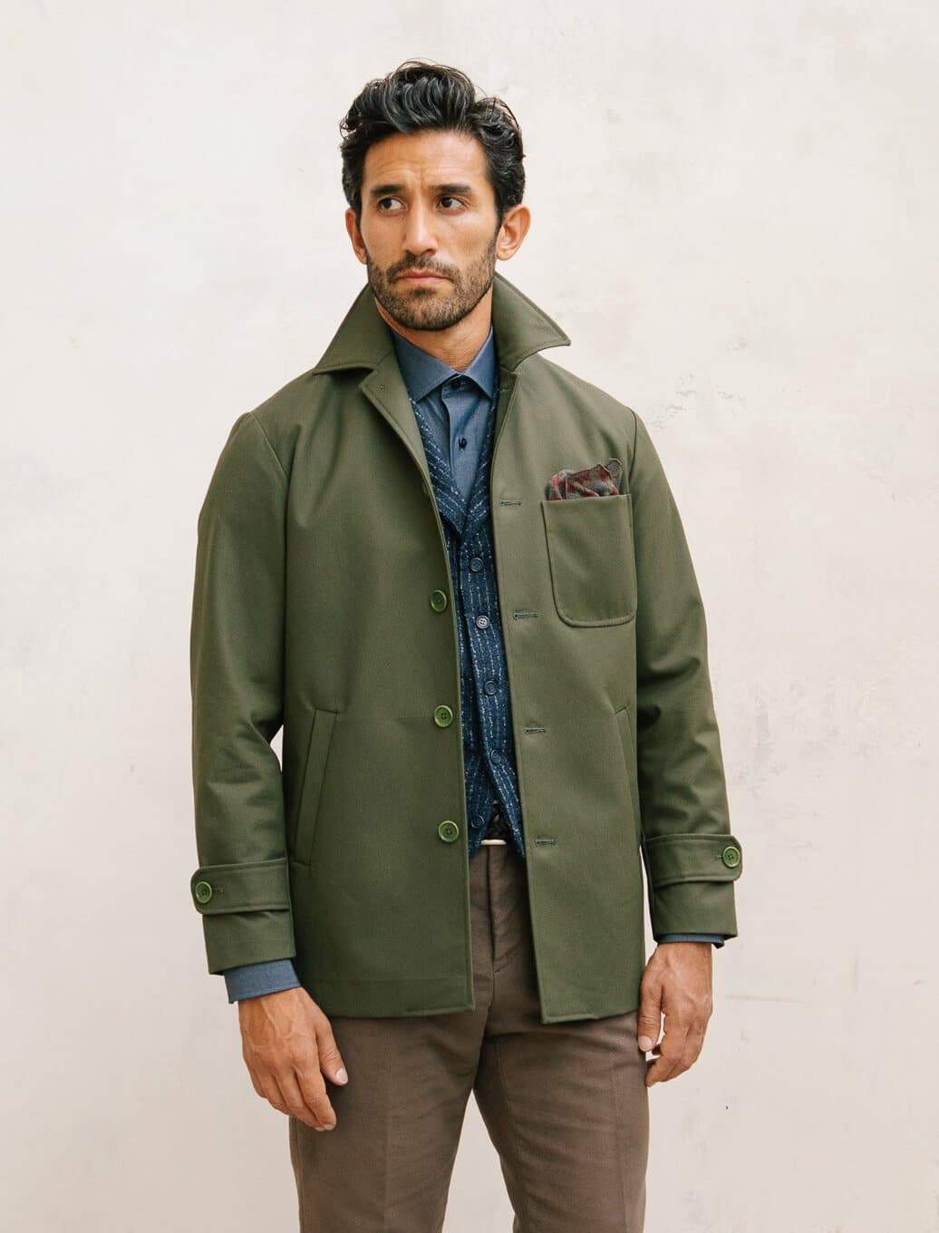 Olive Green Waxed Cotton Overcoat | 40 Colori
